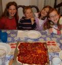 Kids pose with their Jaden Safe Pizza